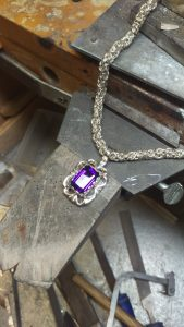 amethyst pendant custom finished